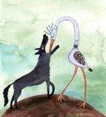 El lobo y la grulla. Fábulas para niños